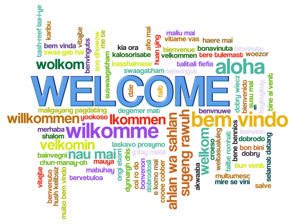 Illustration of wordcloud of welcome in world different languages.